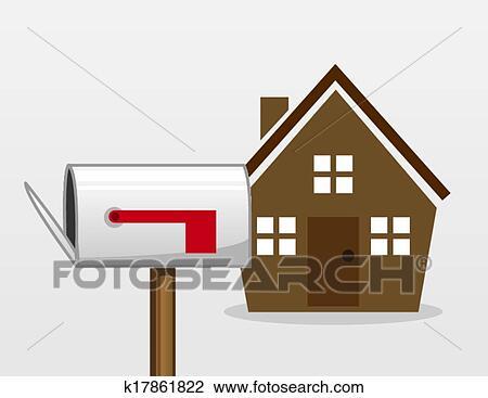 剪贴画 房子, 邮箱