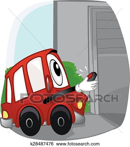 Clipart mascotte porte voiture garage k28487476 for Telecommande ouverture garage