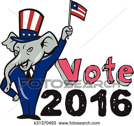 clipart of vote 2016 republican mascot waving flag cartoon k31370493 rh fotosearch com republican clipart transparent background republican clipart free