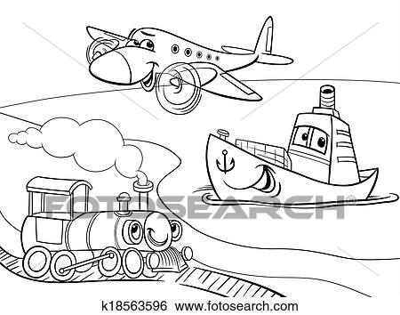 Clip Art Of Plane Ship Train Cartoon Coloring Page