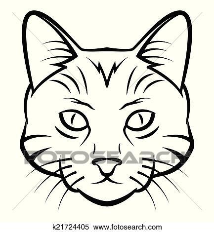 clipart chat t te tatouage vecteur illustration k21724405 recherchez des clip arts des. Black Bedroom Furniture Sets. Home Design Ideas
