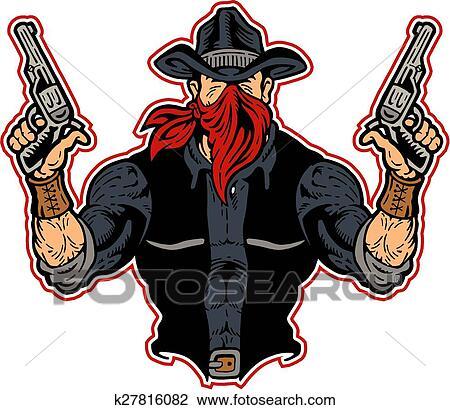 肌肉_肌肉, 牛仔, 恶棍, 带, 手枪
