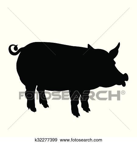 剪贴画 猪, 黑色, 侧面影象