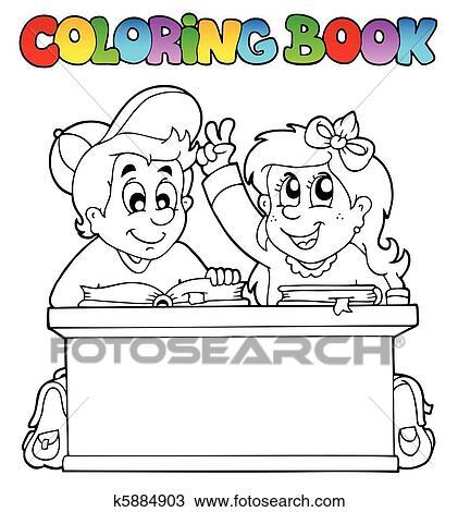 剪贴画 着色书, 带, 二, 小学生