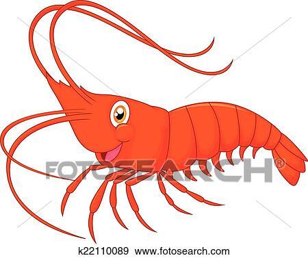 clip art of cute cartoon shrimp k22110089 search clipart rh fotosearch com Shrimp Logos Clip Art Dancing Shrimp Clip Art