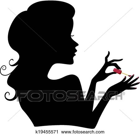 Nail art clip art eps images 5438 nail art clipart vector manicure girl silhouette prinsesfo Choice Image