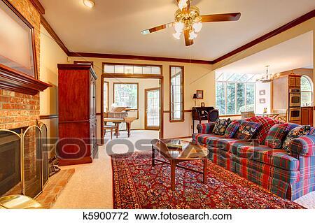 Stock foto woonkamer met engelse stijl meubel en openhaard k5900772 zoek stock - Engelse stijl kamer ...