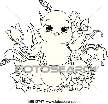 Clip Art of Happy Easter chick. Coloring page k5912747 - Search ...