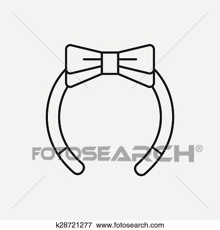 Headband clipart black and white