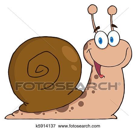 Clipart heureux dessin anim escargot k5914137 - Clipart escargot ...