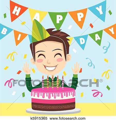 Clipart of Happy Birthday Boy k5915365 - Search Clip Art ...