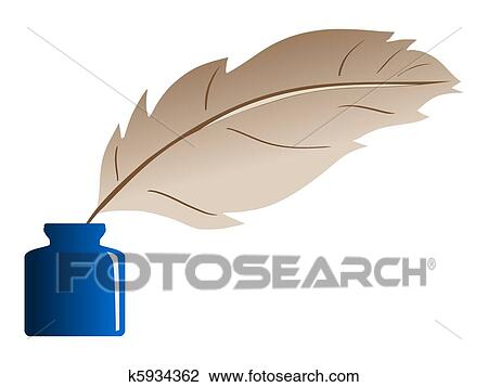 Line Art Feather : Clip art of feather and ink bottle k search clipart