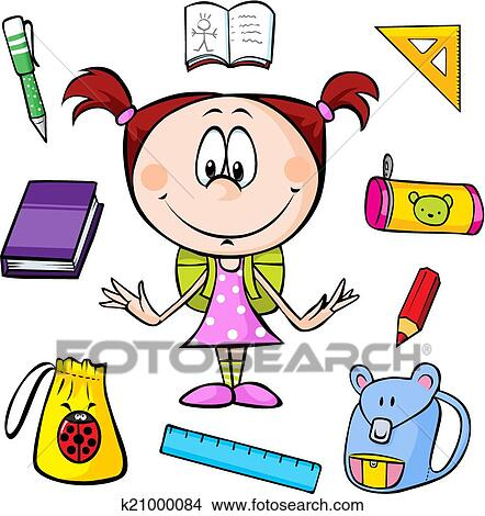 clipart of illustration of a girl with school supplies k21000084 rh fotosearch com school bag clipart school girl clipart