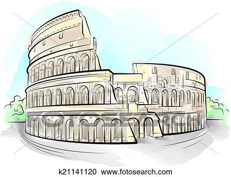 Clipart disegno colorare colosseo roma ital for Colosseo da colorare