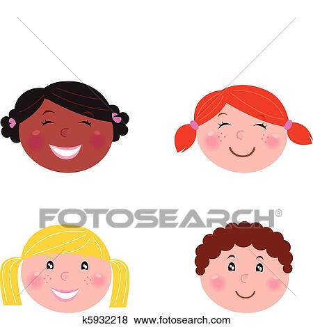 Clip Art of Multicultural children heads - isolated on white ...