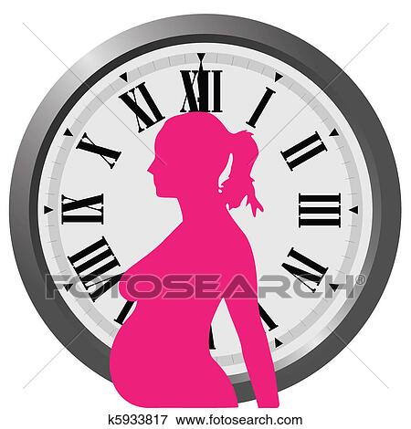 clip art of pregnancy clock k5933817 search clipart illustration rh fotosearch com pregnancy clipart images pregnant clipart