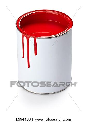Stock Photo of paint color tin can and brush k5941364 - Search ...