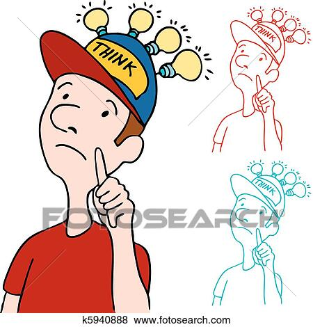 clip art of thinking cap k5940888 search clipart illustration rh fotosearch com thinking cap clipart free