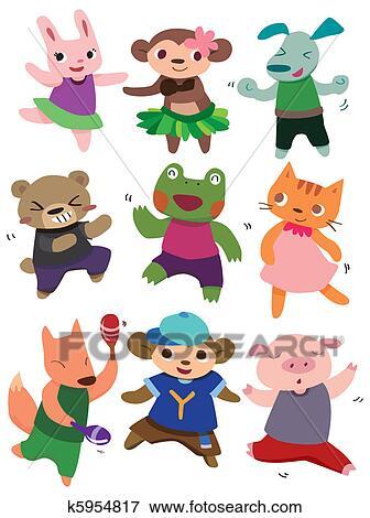 Clip Art of cartoon dancing animal k5954817 - Search ...