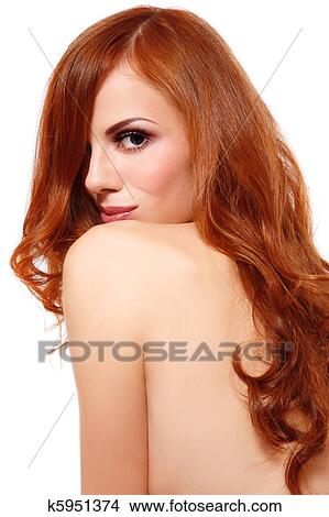 Sexy women with long red hair