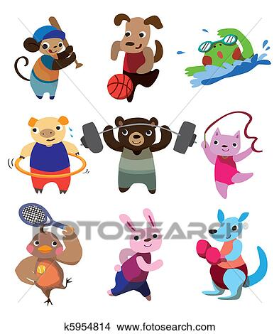 Clipart cartone animato sport animale k5954814 cerca - Animale cartone animato immagini gratis ...
