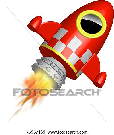 红, 很少, 火箭船, 带, 火焰