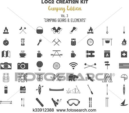 Clip Art Of Logo Creation Kit Bundle Camping Edition Set Travel