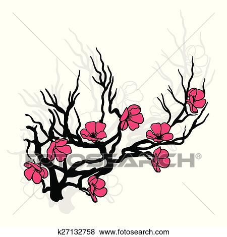 clip art of twig cherry blossoms k27132758 search clipart rh fotosearch com cherry blossom clipart free cherry blossom clipart images