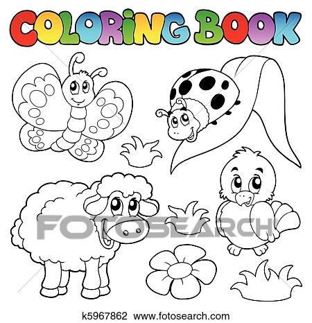 Clipart of Coloring book with spring animals k5967862 - Search ...