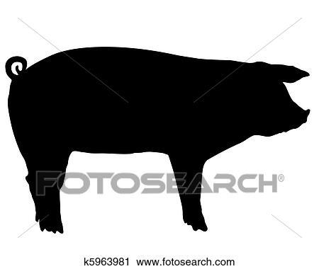 剪贴画 猪, 侧面影象