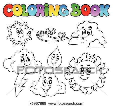 clip art coloring book with weather images fotosearch search clipart illustration posters - Art Coloring Books