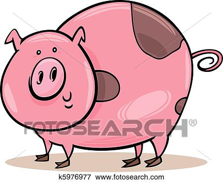 clip art of farm animals spotted pig k5976977 search clipart rh fotosearch com clipart of cute farm animals free clipart pictures of farm animals