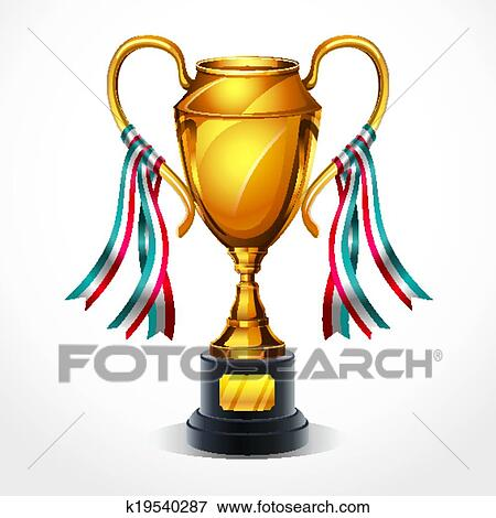 clip art of golden award trophy and ribbon k19540287 search rh fotosearch com clipart trophy transparent clip art trophies free
