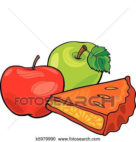 Clipart pommes et tarte aux pommes k5979990 - Dessin tarte aux pommes ...