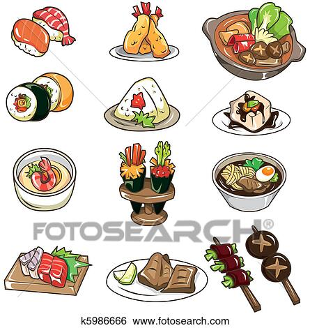 Clip Art of cartoon Japanese food icon k5986666 - Search ...