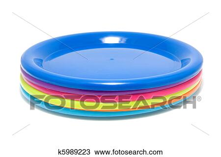 Stock Photo - colorful plastic plates. Fotosearch - Search Stock Images Poster Photographs  sc 1 st  Fotosearch & Stock Photo of colorful plastic plates k5989223 - Search Stock ...