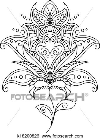 Clip Art of Intricate dainty floral motif design element k18200826 ...