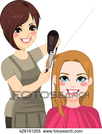 Clipart of Hairdresser Drying Hair k28191205 - Search Clip ...