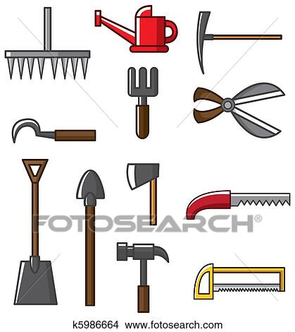 Clipart of Hand tool silhouette collection vec k5986664 - Search ...