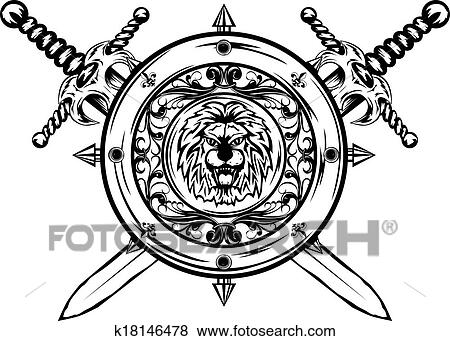 Coat Of Arms Shield Sword Drawing Vector Art   Getty Images
