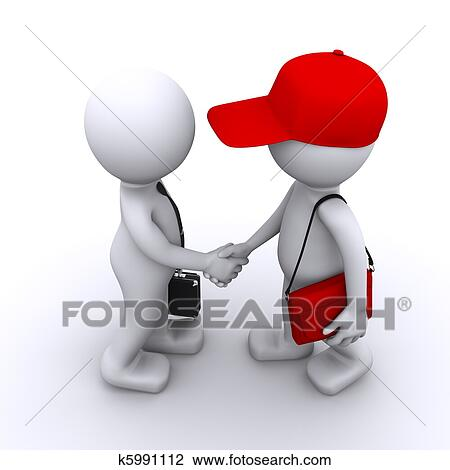 clip art of 3d businessman shaking hands with customer k5991112 rh fotosearch com customer clipart images clipart customer satisfaction