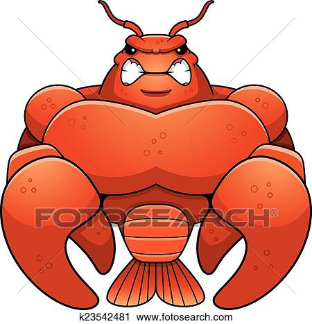 clipart of angry cartoon muscular crawfish k23542481 search clip rh fotosearch com crayfish clipart cute crayfish clipart