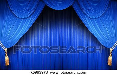 Stock foto blauwe theater gordijn k5993973 zoek stockbeelden poster fotografie n beelden - Gordijn blauwe eend ...