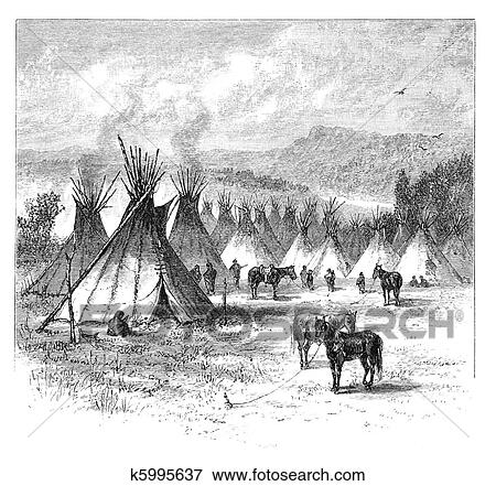 Native Americans Clipart Black And White Stock Illustration of ...