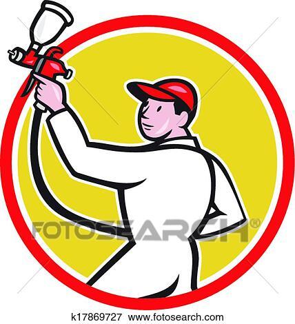 clip art of painter spray paint gun side circle cartoon k17869727 rh fotosearch com spray paint bottle clipart paint spray gun clipart