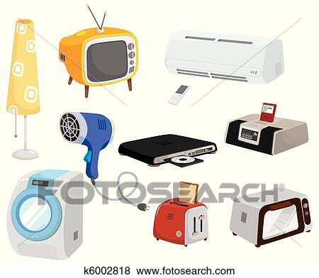 Clip Art Of Cartoon Home Appliances Icon K6002818