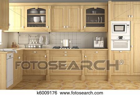 Arkivbilder   innert design, klassisk, kjøkken k6009176   søk ...
