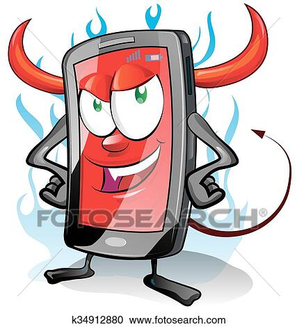 clipart of evil fun mobile cartoon on flame background k34912880 rh fotosearch com clipart evil eyes clipart evil laugh
