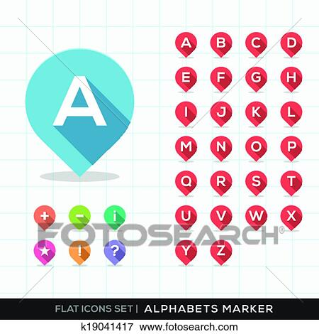 Clip Art of Set of A-Z Alphabet Pin Marker Flat Icons with long ...