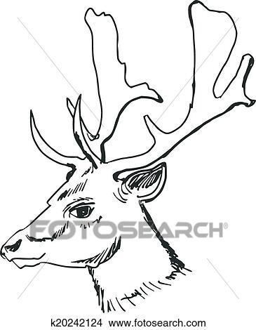 Clipart t te cerf k20242124 recherchez des clip arts des illustrations des dessins et des - Dessin de tete de cerf ...